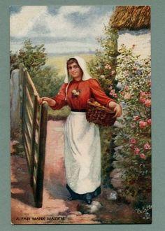 Isle of Man, Manx Maiden with Basket Of Eggs - ca 1907 Vintage Raphel Tuck Oilette Postcard
