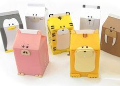 recycle old milk cartons into animals-This is adorable!!! Especially if the babys room theme is farm animals.