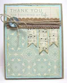 Sky blue & Kraft #card - like the music banners done like this.  Could use with bird and just a note...