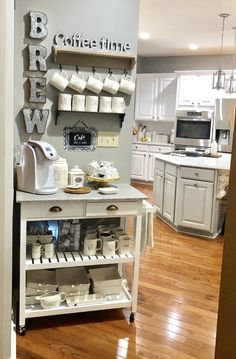 living kitchen room are readily available on our website. Have a look and you will not be sorry you did. Coffee Station Kitchen, Coffee Bars In Kitchen, Coffee Bar Home, Home Coffee Stations, Coffee Bar Ideas, Office Coffee Station, Coffe Bar, Home Decor Kitchen, New Kitchen