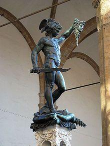 Benbenuto Cellini. 1554 Medusa (mitología) - Perseo con la cabeza de Medusa.