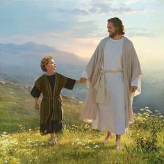 (Lucas 9, 57) Jesus and boy walking. Jesus is smiling with him.