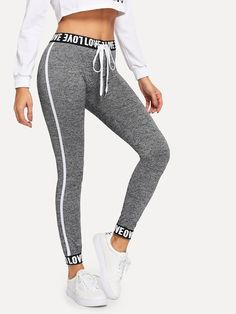 Check out this Letter Taped Drawstring Waist Leggings on Shein and explore more to meet your fashion needs! Legging Outfits, Sporty Outfits, Leggings Fashion, Cute Outfits, Cute Leggings, Printed Leggings, Workout Leggings, Leggings Store, Adidas Women