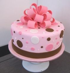 Pink And Brown Polka Dot Fondant Cake Perfect Colors But Would Like Square 2 Tiers