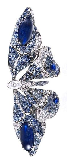 Cindy Chao 10th Anniversary White Label Collection Butterfly Brooch in White Gold with Sapphires and Diamonds.