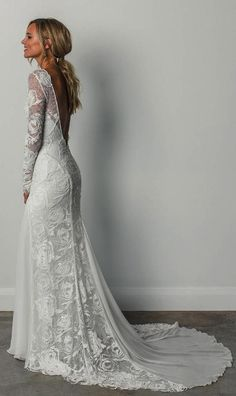 Stunning Embroidered Lace Backless Sheath Wedding Dress / Bohemian Bridal Gown with Long Sleeves, Open Back and a Train. Dress by Grace Loves Lace Grace Loves Lace, Wedding Dress Trends, Dream Wedding Dresses, Wedding Ideas, Bride Dresses, Bridesmaid Dresses, Beach Dresses, Prom Dresses, Long Sleeved Wedding Dresses