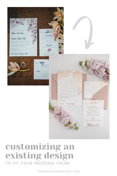 Customize an existing design to make it fit your wedding theme! In this design we changed the burgundy and navy to rose gold foil florals for a romantic, blush wedding.
