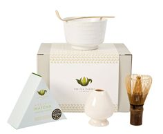 Organic Ceremonial Japanese Matcha Gift Set A perfect starter set for exploring the world of matcha. Contains of organic ceremonial matcha, golden bamboo whisk & spatula, whisk holder and ceramic matcha bowl. Tea Gift Sets, Tea Gifts, Golden Bamboo, Matcha Bowl, Japanese Matcha, Organic Matcha, Green Powder, Exploring, Place Card Holders