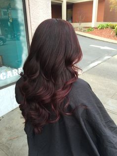 Brunette with dark red ombre