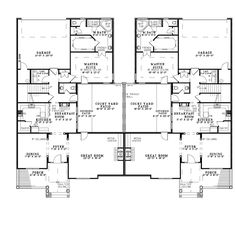 Lovely Bungalow European Traditional Multi Family Plan 61018