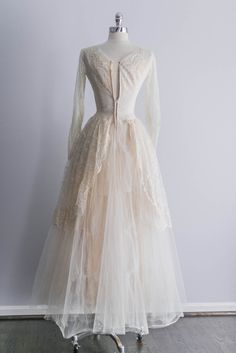 1950s Long Sleeve Tulle and Lace Wedding Gown by ShopGossamer, $425.00