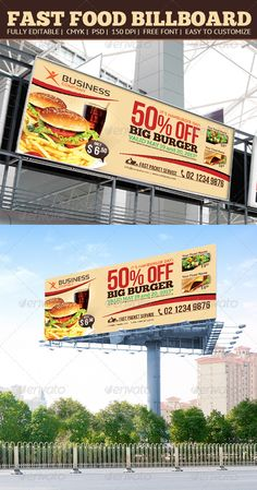 Fast Food Billboard Template #design Download: http://graphicriver.net/item/fast-food-billboard/4802154?ref=ksioks