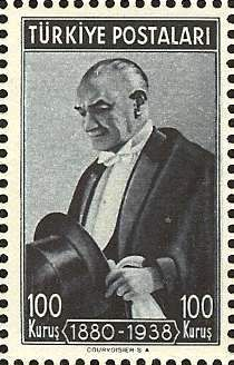 Kemal Ataturk on Turkish Stamp, 1940