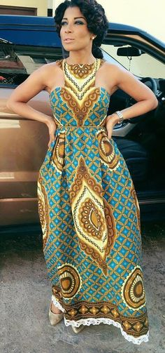 African print maxi #Africanfashion #modamujer
