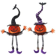 "RAZ Sitting Pumpkin Halloween Decor Assorted styles, priced individually Orange, Black, Purple, and Grey Made of Polyester Measures  35.5"" ht X 7"" X 7""  Choose Style:  Black Hat or Purple Hat RAZ 2017 Halloween Collection Purple Hat Sold Out - No more coming in this season."