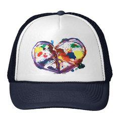 peace heart trucker hats