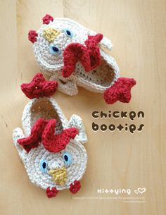 Chicken Baby Booties Crochet PATTERN by Kittying.com / mulu.us