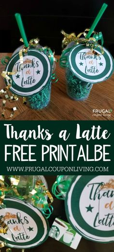Free Thanks a Latte Printable. This makes an adorable Starbucks Gift Card Tag. Toss in a clear coffee cup and gift to a teacher for teacher appreciation week. Also great for a coach, neighbor or friend! #starbucks #thanksalatte #teachergiftideas #teacherappreciationweek #freebie #gifttag #printable #teacherappreciation #printablegifttag #starbucksgiftideas #giftcard #starbucksgiftcard #teachergift #FrugalCouponLiving