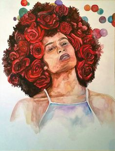 Afro Art Afro Woman Art Natural Hair Art by poeticallyillustrate