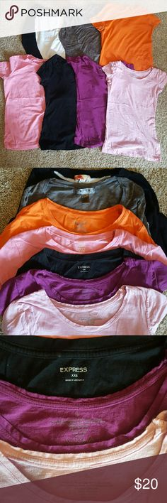 Bundle of assorted Tshirts One xxs, one medium the other 5 are smalls. All fit about the same. One is a baseball T, the other has a third sleeve, 2 have a boat neck and the black express Tshirts is a Vneck with a small pocket on the left. If you have any questions please ask and have a nice day!!! Express Tops Tees - Short Sleeve