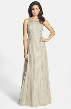 Aidan Mattox Embellished Mesh A-Line Gown available at #Nordstrom
