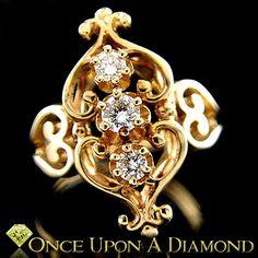 Intricate 14K Yellow Gold 0.25ctw 3 Stone Round Brilliant Diamond Cocktail Ring