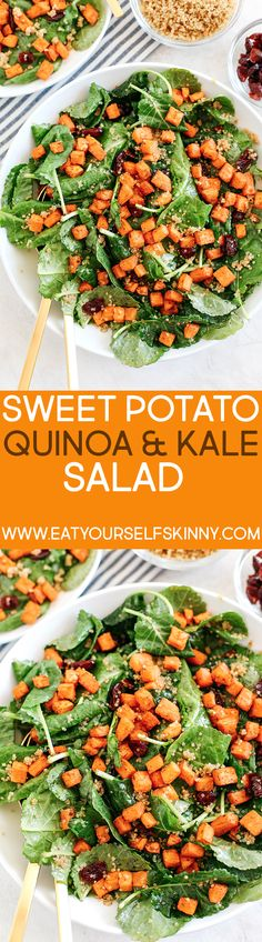 Roasted Sweet Potato, Quinoa and Kale Salad - Eat Yourself Skinny - bratkartoffeln haus New Recipes, Salad Recipes, Vegan Recipes, Cooking Recipes, Meatless Recipes, Healthy Salads, Healthy Eating, Kale Salads, Eat Yourself Skinny