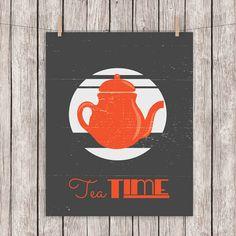 8x10 Printable Tea Typography Art Print Tea Time Quote Vintage Distressed Home…