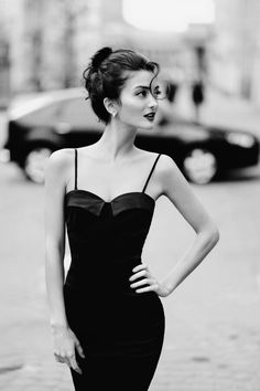 That hair { little black-evening dress. }                              …