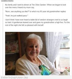 funny tumblr post 93 year old grandma wants man who walked by high five from stangers
