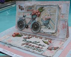 Lovely card by Rachelle Budget Friendly Honeymoons, Bicycle Cards, Mixed Media Cards, Shabby Chic Cards, Fancy Fold Cards, Easel Cards, Pocket Letters, Vintage Cards, Paper Design