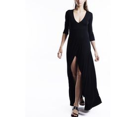 X Faux Wrap Slit Maxi Dress 3/4 sleeve faux wrap high slit black maxi dress. True to size. Brand new. PRICE FIRM. NO TRADES. Model is wearing a size S. Bare Anthology Dresses Maxi