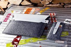 Pochette iPad, cuir blanc et laine. Design & Artisanat - Oranjade