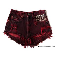 Runwaydreamz : Scarlett Vintage Frayed Studded Shorts ❤ liked on Polyvore featuring shorts, bottoms, pants, short, studded shorts, vintage studded shorts, vintage shorts, short shorts and frayed shorts