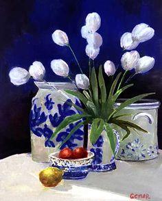Blue Delft Tulips- I love both!