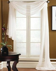 """Amazon.com - Gorgeous Home *DIFFERENT SOLID COLORS* AND ALSO *ANIMAL PRINT* 1PC SCARF VALANCE SOFT SHEER VOILE WINDOW TOPPER SWAG PANEL CURTAIN 216"""" LONG (CHOCOLATE BROWN) -"""