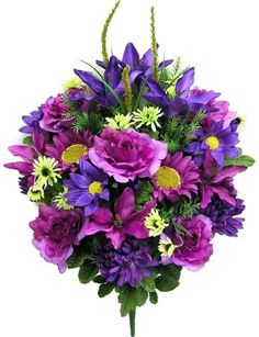 Premium Sunflower and Rose Mixed Bush - Violet Grave Flowers, Cemetery Flowers, Sunflowers And Roses, Silk Flowers, Memorial Flowers, Funeral, Daisy, Floral Wreath, Bouquet