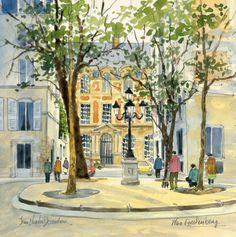 Places & squares - Jean-Charles Decoudun, aquarelles, paysages urbains, peinture de Paris