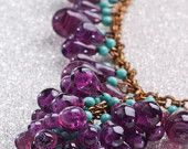 VINTAGE ART GLASS Necklace with Amethyst and Tourquoise Beads, circa 1930-40
