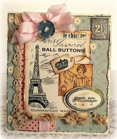 Vintage Shabby Thank You Card...with bow & button.