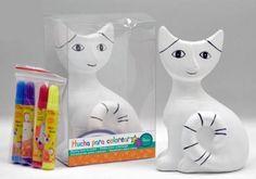 Detalle infantil hucha Gato de ceramica para pintar para regalar a los niños #Grandetalles