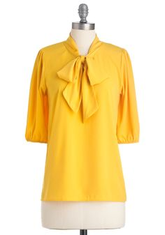 $42.99 Des Colores Top in Lemon - Mid-length, Yellow, Solid, Bows, Work, 3/4 Sleeve, Spring