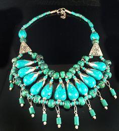 Turquoise Silver Bib Necklace,Nepal Necklace,Nepali Statement Jewelry,Tribal Jewelry,Tibet Necklace by Taneesi by taneesijewelry on Etsy
