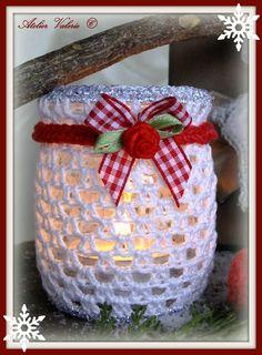 crocheted jar cozy with pretty red trim