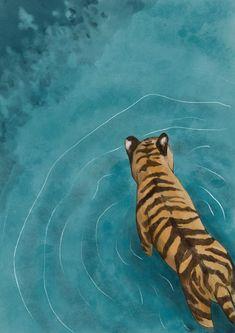 Tiger Wading / Home Decor / Relaxing Wall Art Illustration Art And Illustration, Tiger In Water, Tiger Art, Tiger Cubs, Bear Cubs, Tiger Painting, Whimsical Art, Art Sketchbook, Framed Art Prints