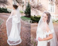 Chapel Lace Veil with Blusher Two Layer Lace by PTBridalHandMade