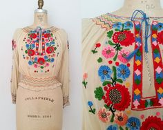 NEW! Vintage 1930s Long-Sleeved Hand-Embroidered Peasant Blouse // Small Shop at www.etsy.com/Shop/ThriftyVintageKitten
