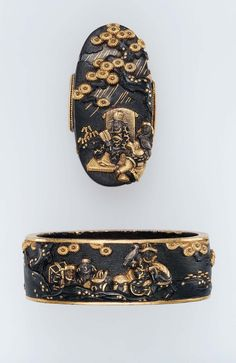 Fuchi-kashira with designs of seated Chinese ruler and attendants under a pine tree, and mounted Chinese and attendants hawking. Edo period mid-late 18th century - Ayanokoji Nagamine (Japanese, mid-18th century), Sôten School http://www.mfa.org/collections/object/fuchi-kashira-with-designs-of-seated-chinese-ruler-and-attendants-under-a-pine-tree-and-mounted-chinese-and-attendants-hawking-12445