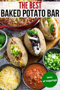 Baked Potato Bar is a great birthday party idea, weeknight meal, or way to serve up guests. I share how to make the perfect baked potato bar with all your favorite toppings for people pile on. #bar #potatoes #baked #easy #snacking #dinner #partyfood #recipe #foodblogger #partyideas