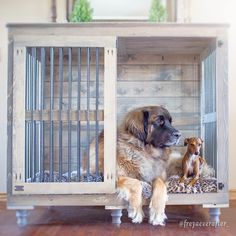 Finally there is a beautiful indoor dog kennel for great danes and other large dogs! Say goodbye to the ugly plastic dog crates and hello to the Great Dane Doggie Den! Big Dog Crates, Wooden Dog Crate, Plastic Dog Crates, Wooden Dog Kennels, Large Dog Crate, Xxl Dog Crate, Big Dogs, Large Dogs, Le Plus Grand Chien